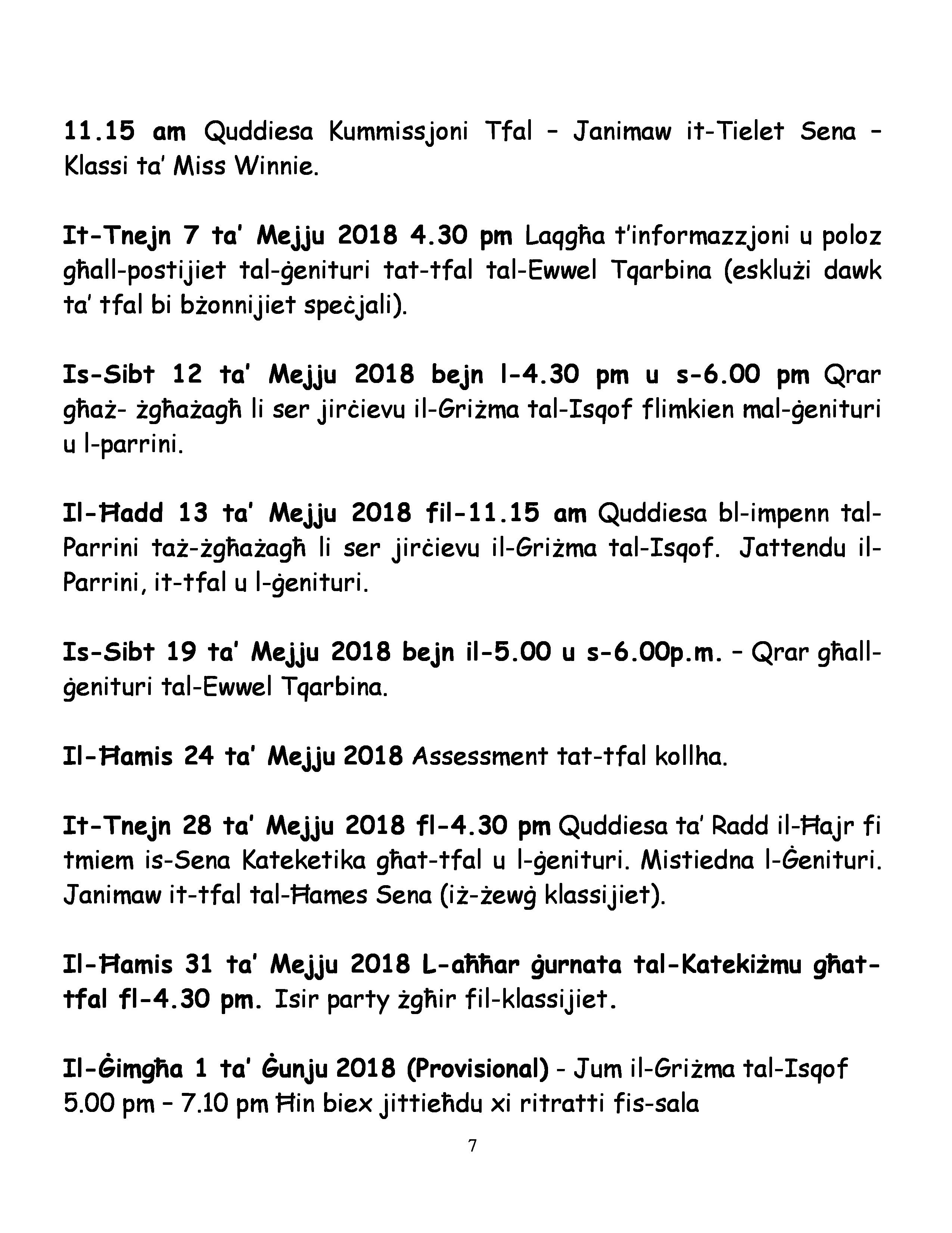 Programm Sena Kateketika 2017-18